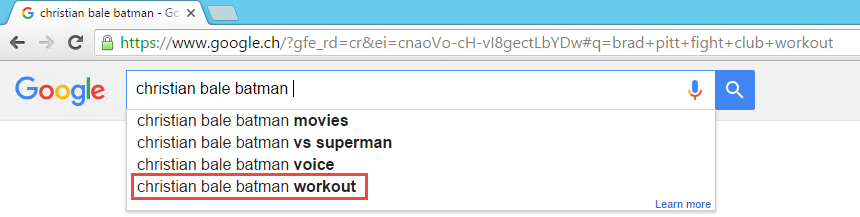 Christian Bale Batman Google Search AutoCompletion