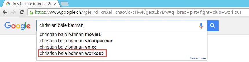 Christian Bale Batman Google Search AutoCompletion