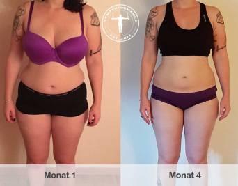 Fettabbau-Frau - 4 Monate Unterschied - Jasmin