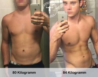 Muskelaufbau - von 80Kg zu 84Kg mit sichtbaren Bauchmuskeln