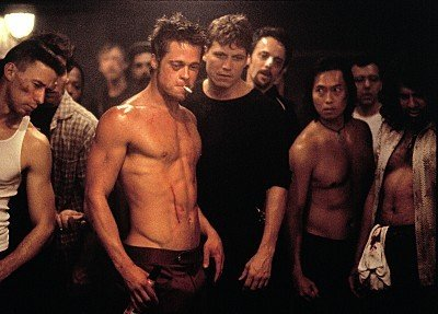 "Brad Pitt in the movie ""Fight Club"""