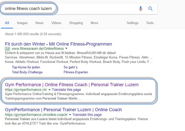 """Gym Performance ist auf dem ersten Platz bei der Google Suche nach """"Online Fitness Coach Luzern"""""""
