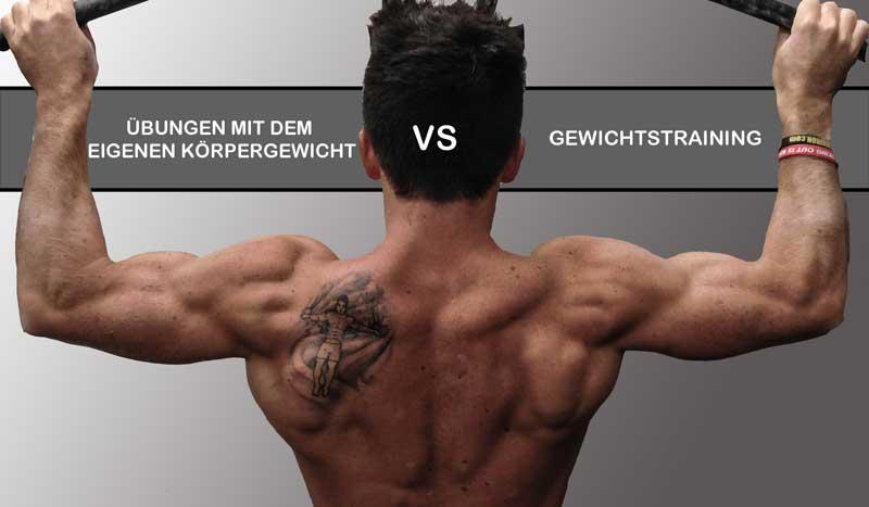 Krafttraining: Gewichtstraining vs. Übungen mit dem eigenen Körpergewicht