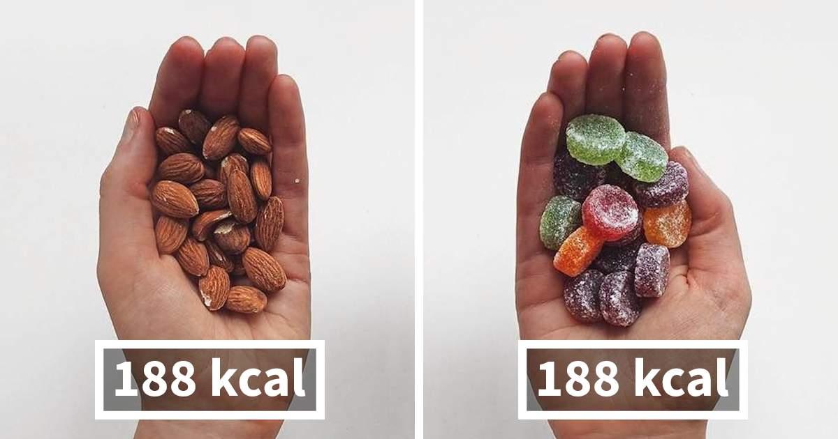 Nüsse sind gesund - Süssigkeiten nicht. Beide Nahrhungsmittel haben jedoch gleich viel Kalorien!