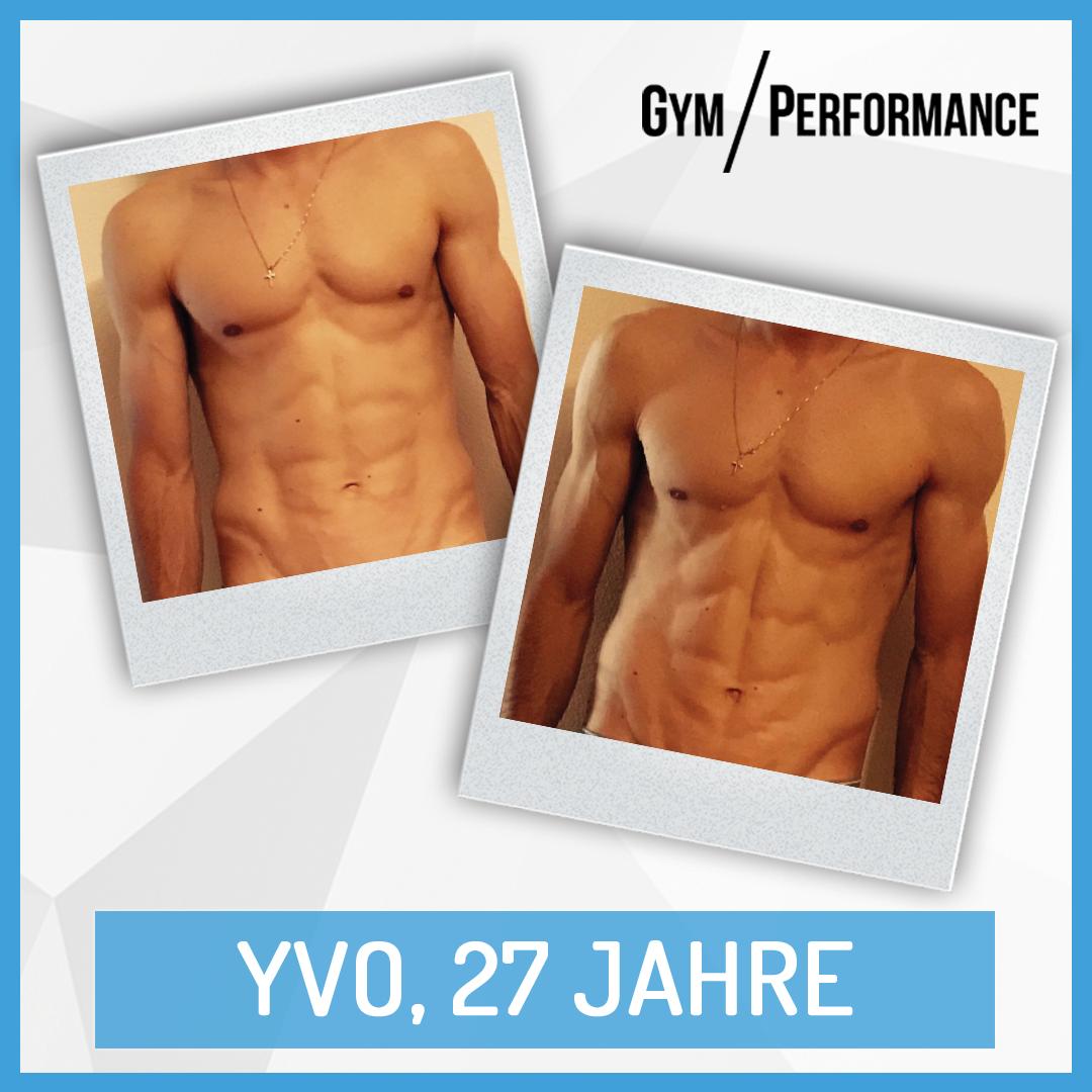 Mit Hilfe eines Carb Cycling Protokolls konnte Yvo in nur drei Wochen nachweislich 3 Kilogramm Körperfett abbauen, ohne dabei Muskeln zu verlieren.