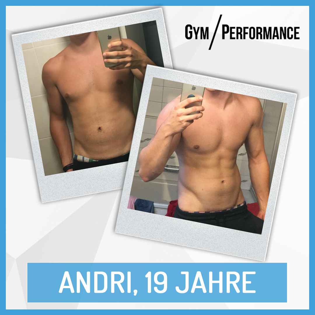 Andri hat während den letzten Monaten 4 Kg Muskelmasse zulegen können. Die geformte Brust, die ausgeprägten Schultern und die sichtbare Bauchmuskeln lassen sich definitiv zeigen!