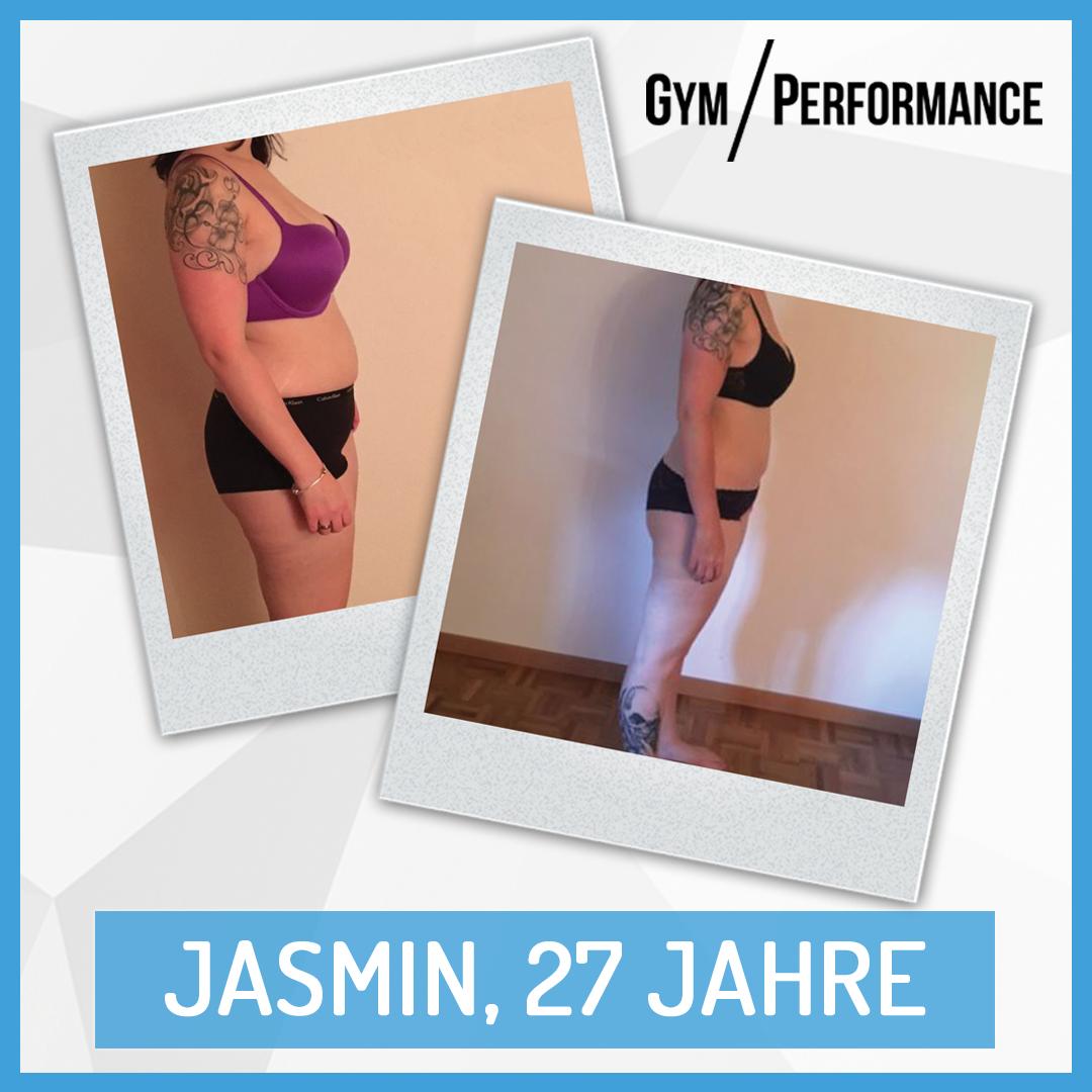 Von Kleidergrösse XL / XXL zu Grösse M – Jasmin's Leistung hat sich ausbezahlt. Über 11 Kilogramm Körperfett konnte sie bisher loswerden.
