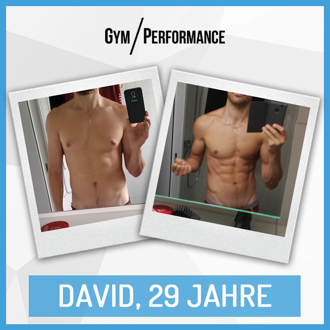 In nur zwei Monaten zum Sixpack!  David kann stolz auf sich sein.