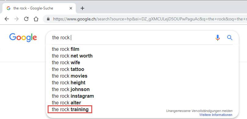 Google Search - The Rock Trainingsplan